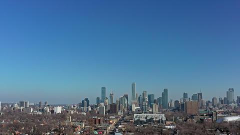 4K Aerial Establishing Shot of a Neighbourhood in Toronto, Ontario Footage