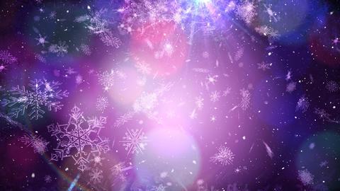 Falling snow with bokeh light Christmas circles Animation