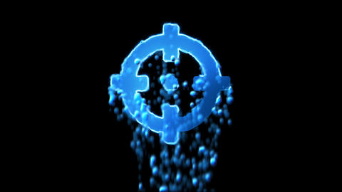 Liquid symbol crosshairs appears with water droplets. Then dissolves with drops Animation