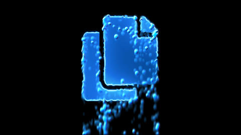 Liquid symbol copy appears with water droplets. Then dissolves with drops of Animation
