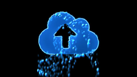 Liquid symbol cloud upload appears with water droplets. Then dissolves with Animation