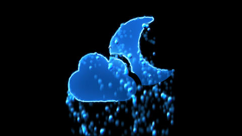 Liquid symbol cloud moon appears with water droplets. Then dissolves with drops Animation