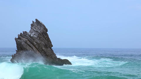 Lonely Rock in the Ocean and Surf Footage