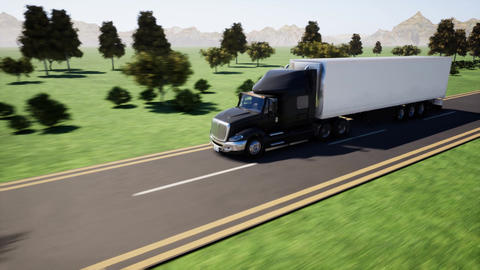 Truck leading to 4 seasons road Animation