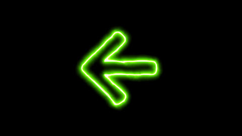 The appearance of the green neon symbol arrow left. Flicker, In - Out. Alpha Animation