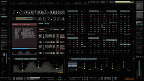 Futuristic Source Code Digital Data Telemetry Display Animation