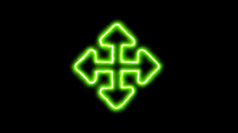 The appearance of the green neon symbol arrows up down, right left. Flicker, In Animation