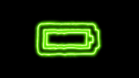 The appearance of the green neon symbol battery full. Flicker, In - Out. Alpha Animation