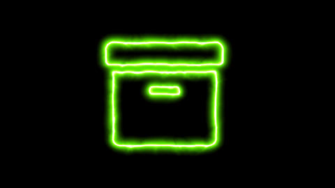 The appearance of the green neon symbol archive box. Flicker, In - Out. Alpha Animation