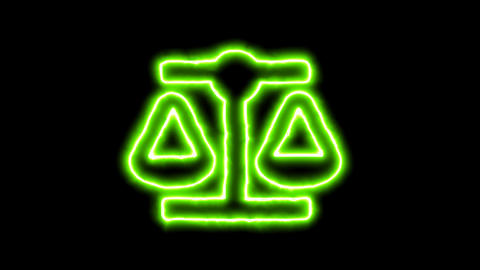 The appearance of the green neon symbol balance scale. Flicker, In - Out. Alpha Animation