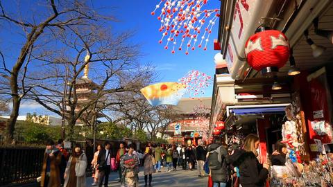Tourists visit the Sensoji TempleI in Asakusa ライブ動画