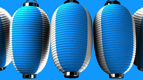 Blue and white paper lanterns on blue background CG動画