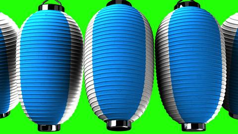 Blue and white paper lanterns on green chroma key Animación