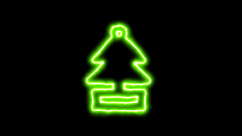 The appearance of the green neon symbol air freshener - tree. Flicker, In - Out. Animation
