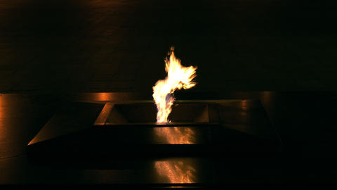 Eternal Flame Burning at Night on Victory Square in Minsk, Belarus Footage
