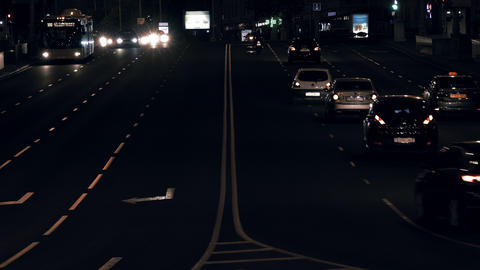 4K Cars Driving on Four-Lane Avenue at Night in Minsk, Belarus Footage