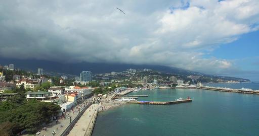 Tourists Walking On Seaside Embankment In City Footage