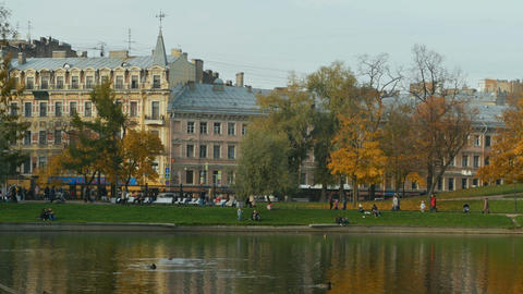 beautiful urban autumn park Footage