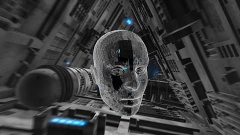 Dark spaceship interior with neon an lowpoly human head. Seamless animation of Animation