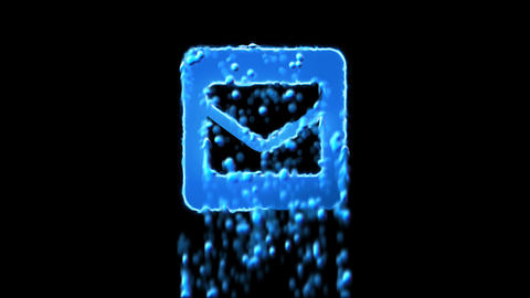 Liquid symbol envelope square appears with water droplets. Then dissolves with CG動画
