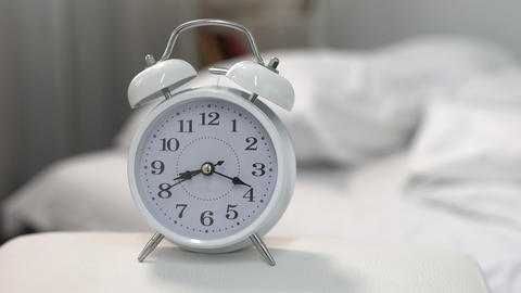 Alarm clock ringing in morning, wake up time, day routine, project deadline Footage