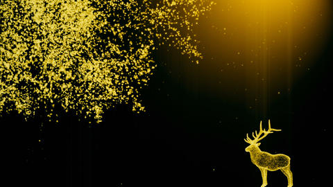 Abstract background with a deer near a tree with particles. On beatiful relaxing Footage