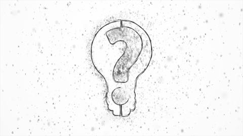 Bulb question letters black CG動画素材