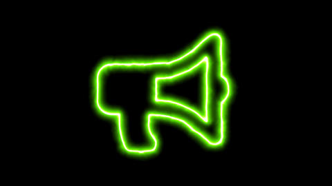 The appearance of the green neon symbol bullhorn. Flicker, In - Out. Alpha Animation