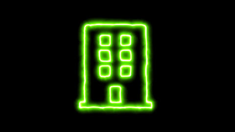 The appearance of the green neon symbol building. Flicker, In - Out. Alpha Animation