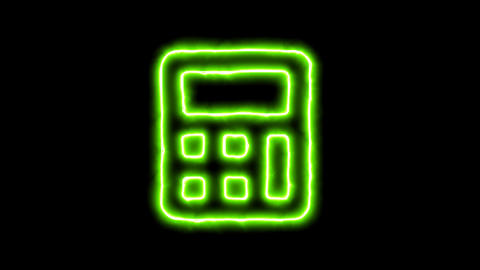 The appearance of the green neon symbol calculator. Flicker, In - Out. Alpha Animation