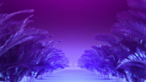 Abstract corridor of blue-violet plants Animation