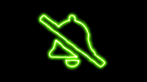 The appearance of the green neon symbol bell slash. Flicker, In - Out. Alpha Animation