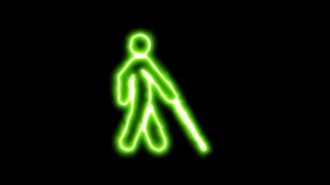 The appearance of the green neon symbol blind. Flicker, In - Out. Alpha channel Animation