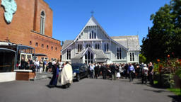 shot of religious chapel or funeral home for funeral service Footage