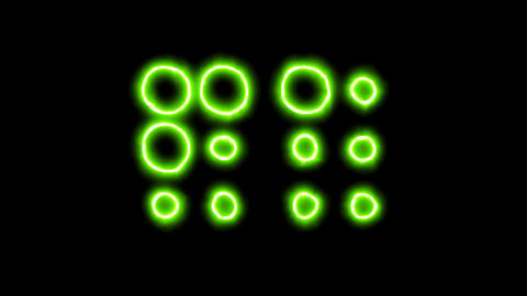The appearance of the green neon symbol braille. Flicker, In - Out. Alpha Animation