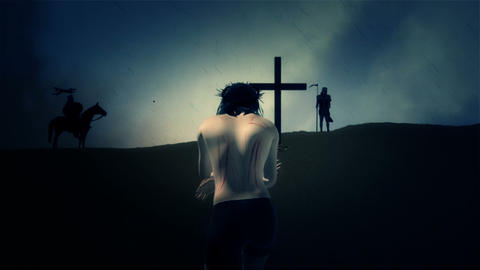 Jesus Walking to the Cross for his Crucifixion and Roman Soldiers Footage