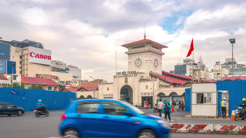 Ben Thanh Market Morning Time Lapse, Ho Chi Minh City, Vietnam GIF