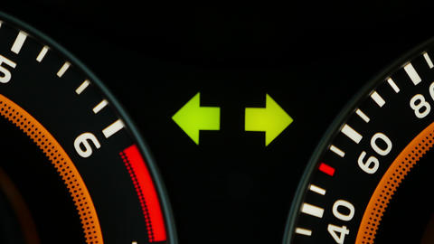 Car dashboard, with emergency stop signal Live Action