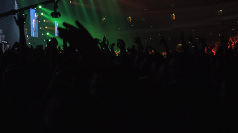 Excited audience dancing at the concert Footage