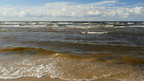 Beautiful view of sea waving in the beach of Baltic sea Footage