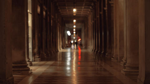 Inside ancient building at San Marco Square. Venice, Italy Footage
