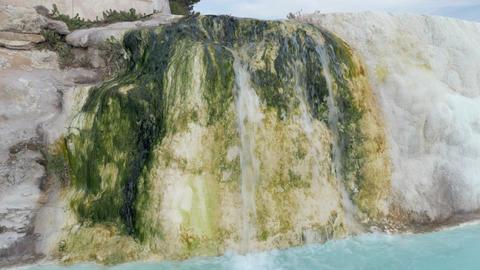 Travertine creek and hot water springs in Pamukkale, Turkey Footage