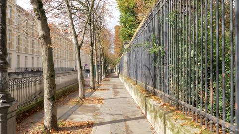 Quiet Paris street on sunny autumn day, France Footage