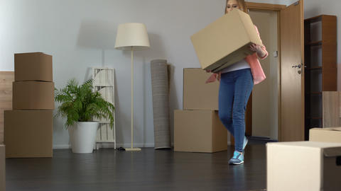 Happy lady moving to new apartment, buying own property, real estate contract Live Action
