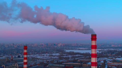 Air pollution from industrial plants aerial view Live Action