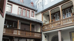 Architectural Details Dom Romer Project Buildings in Old Town Frankfurt Footage