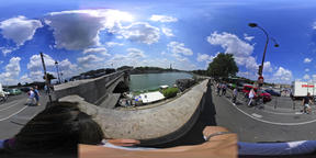 360 vr video of people walking by world famous Seine river VR 360° Video