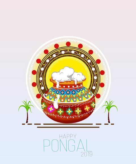 illustration of Happy Pongal Holiday Harvest Festival of Tamil Nadu South India Photo