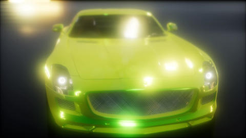 luxury sport car in dark studio with bright lights Footage