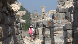 Turkey Ephesus Ephesos Efes tourist inside an ancient antique Greek ruin Footage